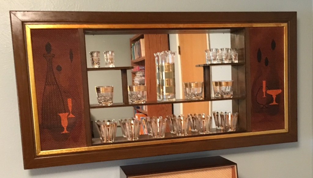 A photo of a mid-century display case